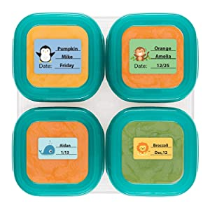 Baby Food Labels, Write-On Date Labels for Food Storage Containers & Baby Bottles, Great for Daycare & Food Storage Pack of 128 (Food labels)