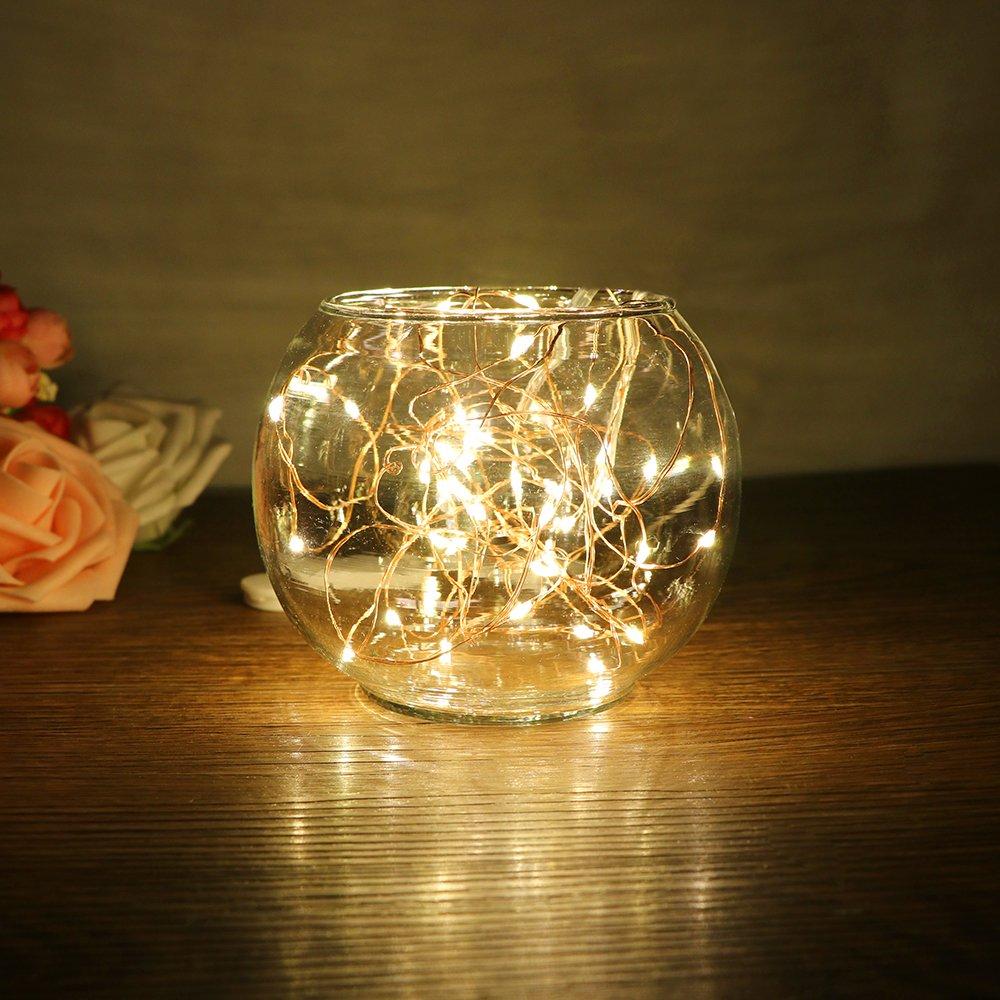 TiooDre 2 m / 6.5 pies 20-luz LED de cuerda de alambre de cobre para la mano de cristal Botella Incluye Hada de la l¨Âmpara de la boda de San Valent¨ªn de la bater¨ªa de Navidad [Clase de eficiencia energética A++]