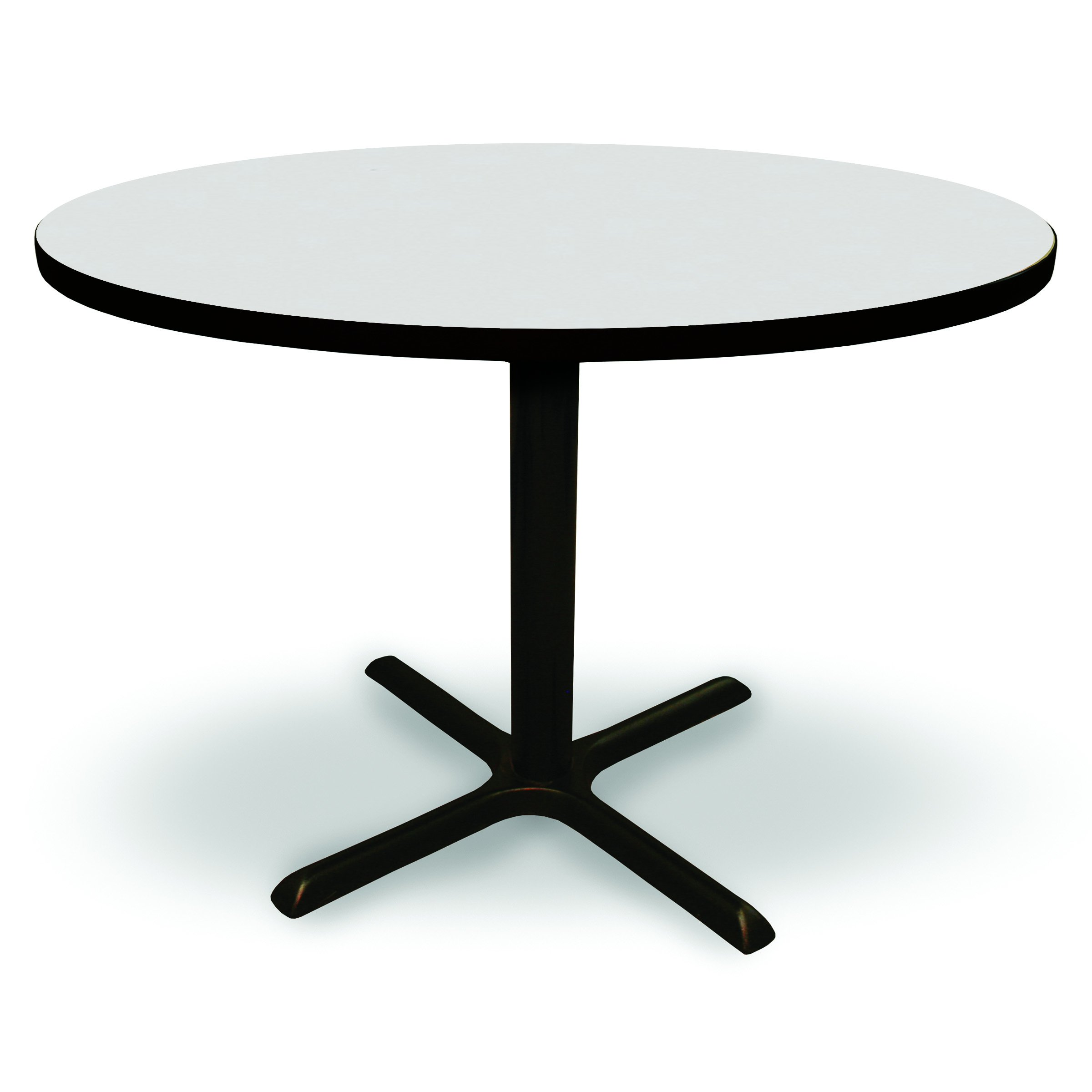 48'' Round Conference, Break Room, Multipurpose Table - Platinum Laminate/Black Finish