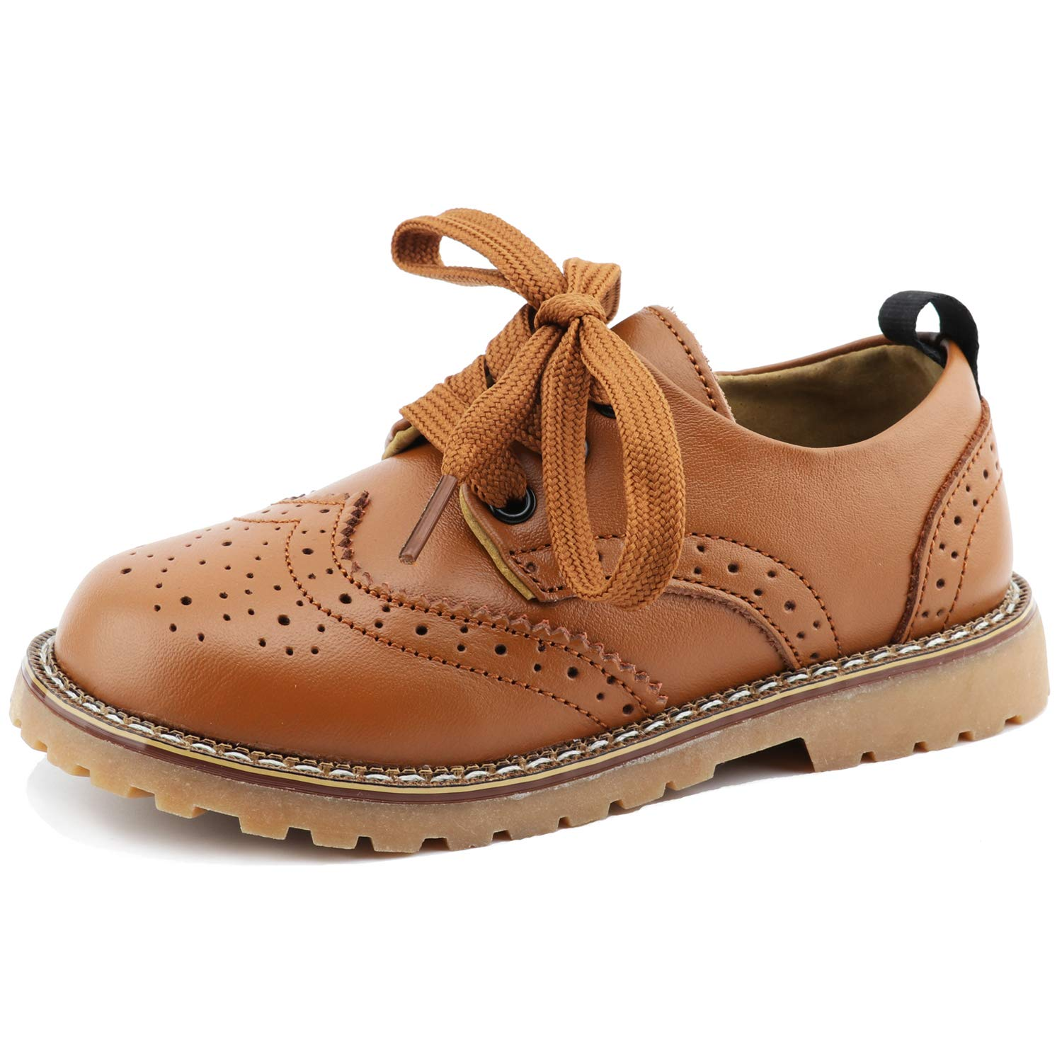 CCTWINS KIDS Toddler Little Kid Girl Boy Dress Oxford Leather Shoe(G9771-brown-29)