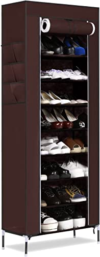Gracelove 10 Layer 9 Grid Large Capacity Shoes Storage Organizer Portable Shoe Rack Coffee