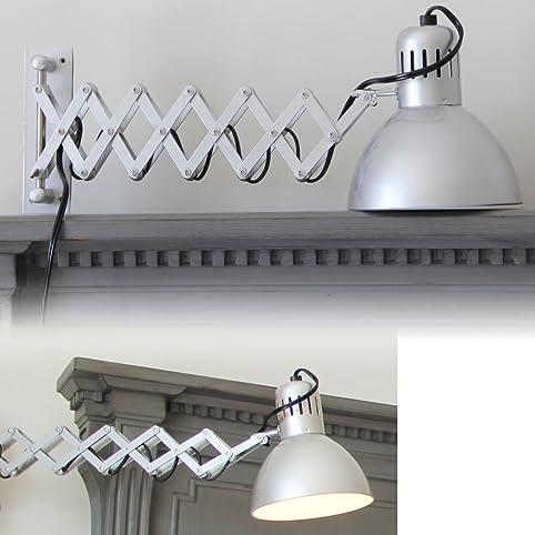 Adjustable Wall Reading Task Multi Purpose Lamp Swing Arm Scissor  Extendable Accordion Type Silver