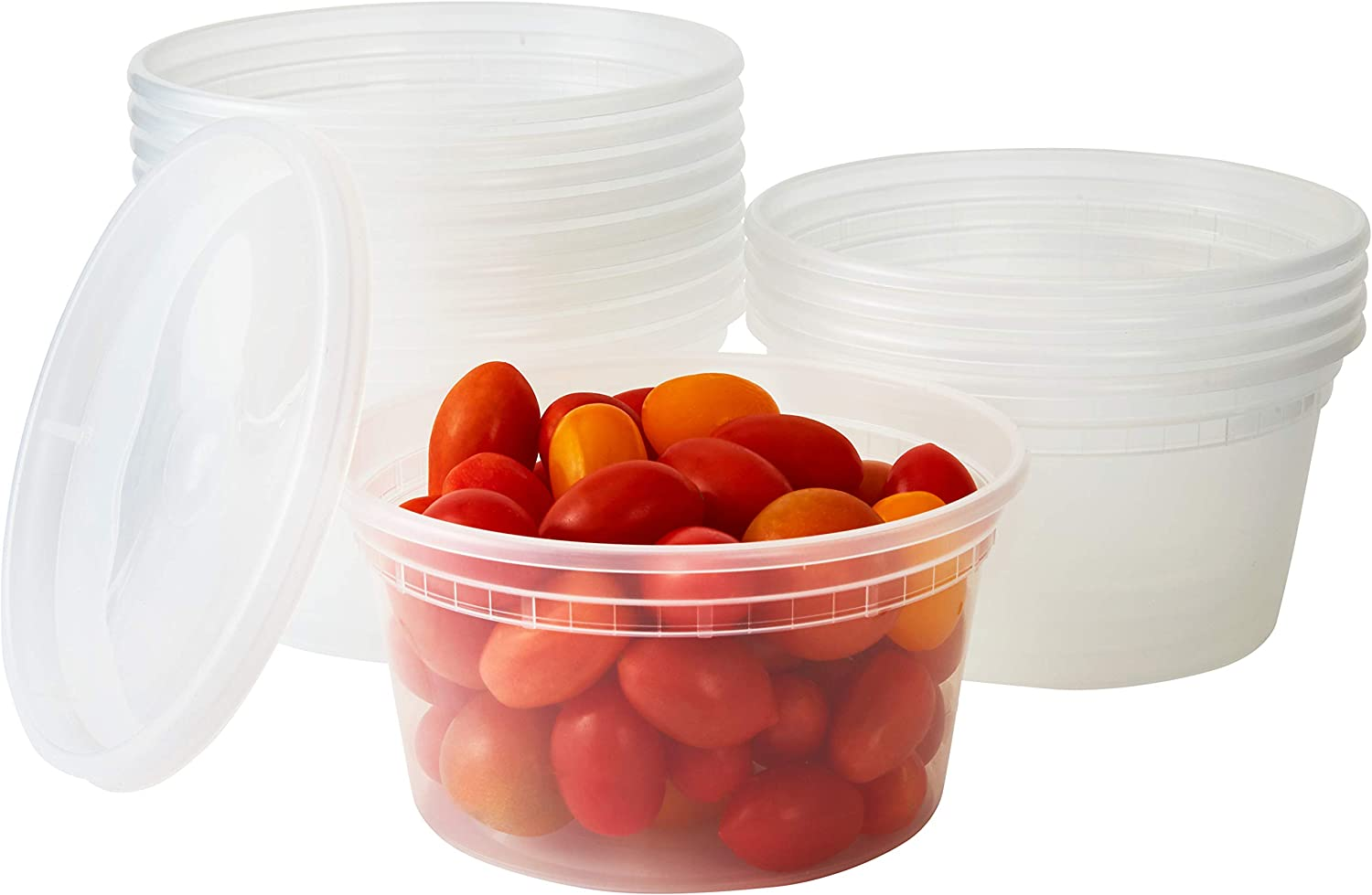 Deli Grade, BPA Free 12oz Plastic Containers with Lids, 24ct. Leakproof, Microwavable Portion Container for To-Go Orders, Food Prep and Storage. Reusable Takeout Cups for Restaurant, Cafe and Catering