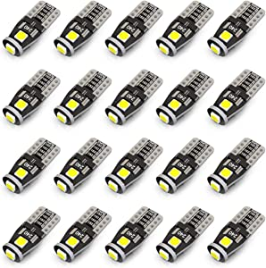 KAFEEK 20x T10 Wedge 194 168 2825 W5W LED Bulbs, Super Bright 3-3030 Chipset, CAN-Bus Error Free, Interior Lights, License Plate Dome Map Door Courtesy Park Lights,Xenon White