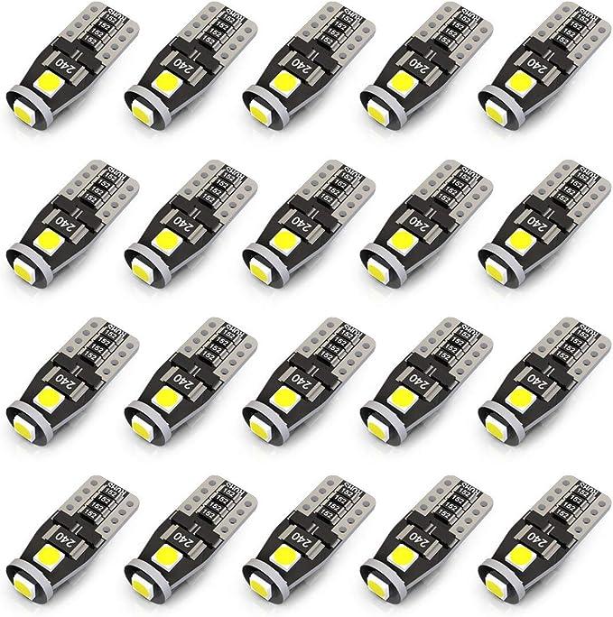 2pcs Bright White T10 Wedge LED COB Canbus Light Bulbs W5W 194 168 2825 12V 6W