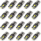 KAFEEK 20x T10 Wedge 194 168 2825 W5W LED Bulbs, Super Bright 3-3030 Chipset, CAN-Bus Error Free, Interior Lights License, Plate Dome Map Door Courtesy Park Lights,Xenon Withe