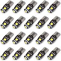 KAFEEK 20x T10 Wedge 194 168 2825 W5W LED Bulbs, Super Bright 3-3030 Chipset, CAN-Bus Error Free, Interior Lights…