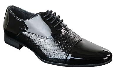 bc388891c298fd Chaussures homme simili cuir effet serpent verni chic brillant design  italien noir et blanc