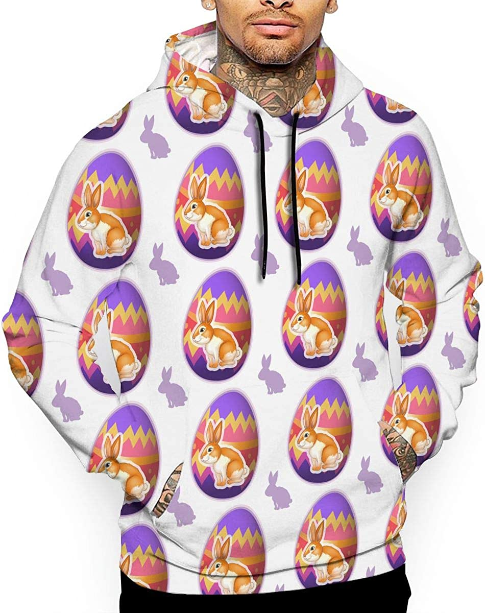 Easter Bunnies Inside Eggs Mens Front Pouch Pocket Pullover Hoodie Sweatshirt Long Sleeves Pullover Tops