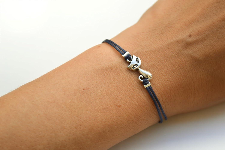 Cat bracelet, blue cord bracelet with a silver cat charm, animal jewelry, kitty charm bracelet, gift for cat lover, friendship bracelet