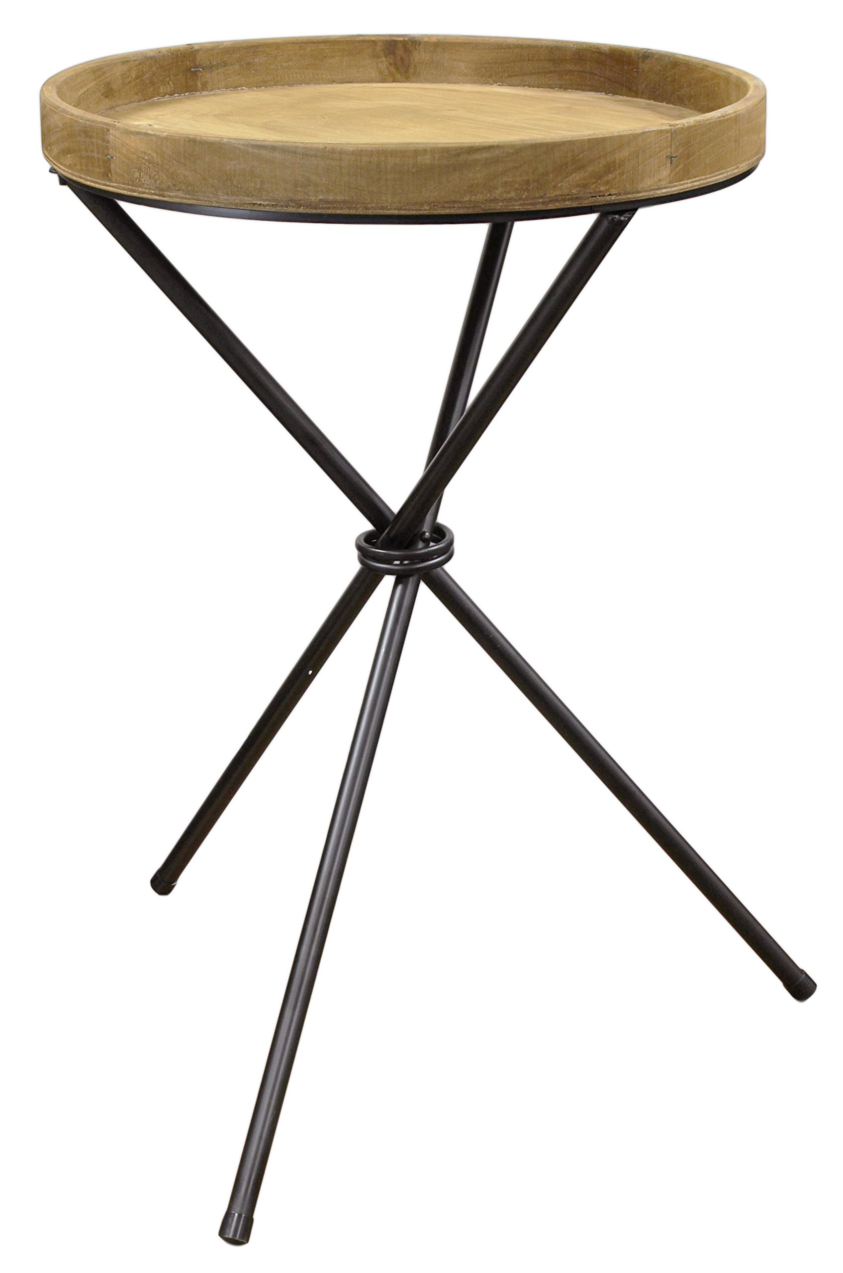 Lucky Winner Round Side Table Natural Light Wood Stain with Metal Legs 31''