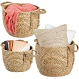 mDesign Round Woven Braided Rope Seagrass Home Storage Baskets, Jute Handles - for Organizing Closet, Bedroom, Bathroom, Livi