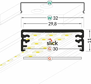 "opaler Abdeckung -silber eloxiert 2m ALU-Profil /""WIDE-24/"" Aufbau 10,95€//m"