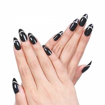 Amazon.com : Ejiubas 24 Pcs 12 Sizes Black Stiletto Nails Artificial ...