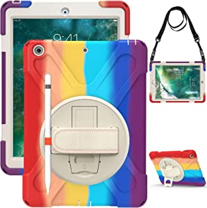 iPad 9.7 Case with Pencil Holder 2017/2018   TSQ iPad Case 5th Genaertion Shockproof Rugged   Durable Protective Kids Case Cover w/ Stand Hand Shoulder Strap for iPad 6th Generation 9.7 Inch, Rainbow