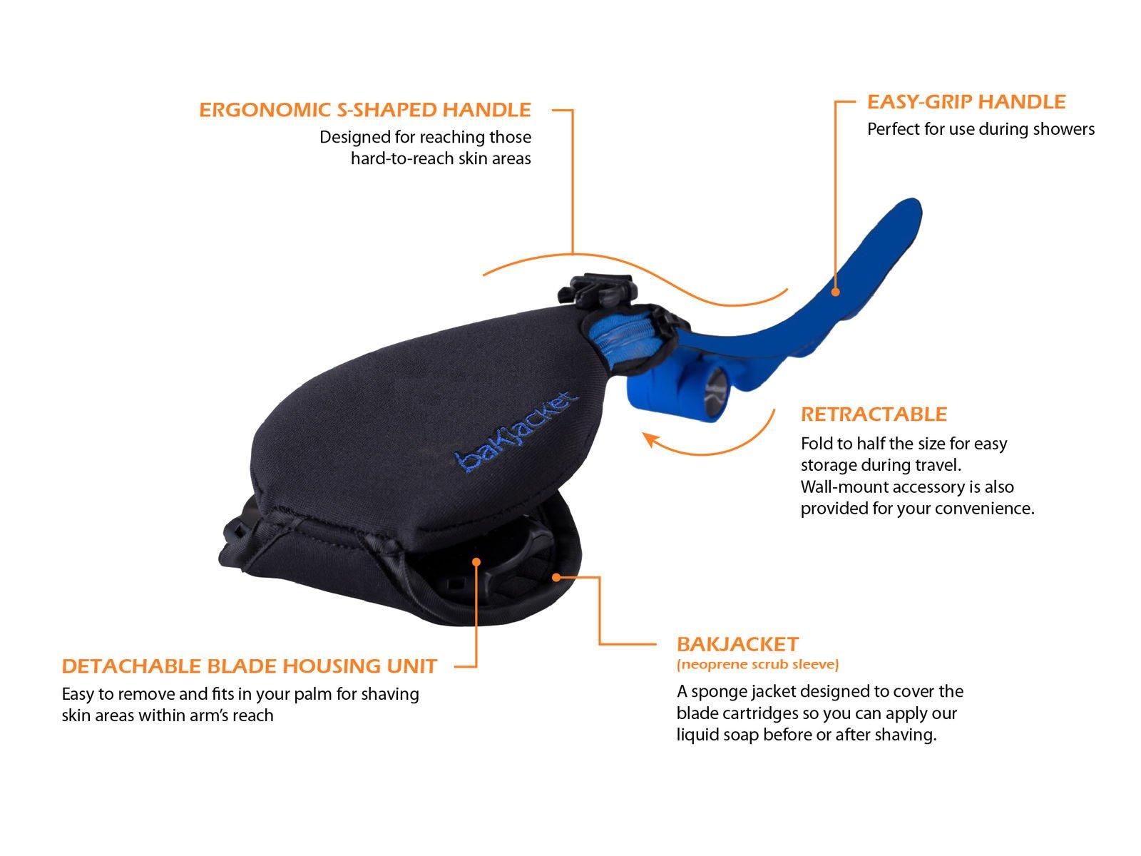 SD Version 2.0 Ultimate Men's Back Hair Body 3 in 1 Shaver – Ergonomic & Lightweight Personal Body Grooming Kit