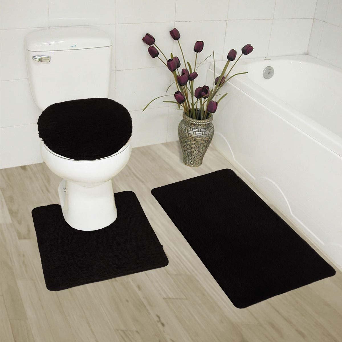 Fancy Linen 3pc Black Non-Slip Bath Mat Set Bathroom U-Shaped Contour Rug, Mat and Toilet Lid Cover New