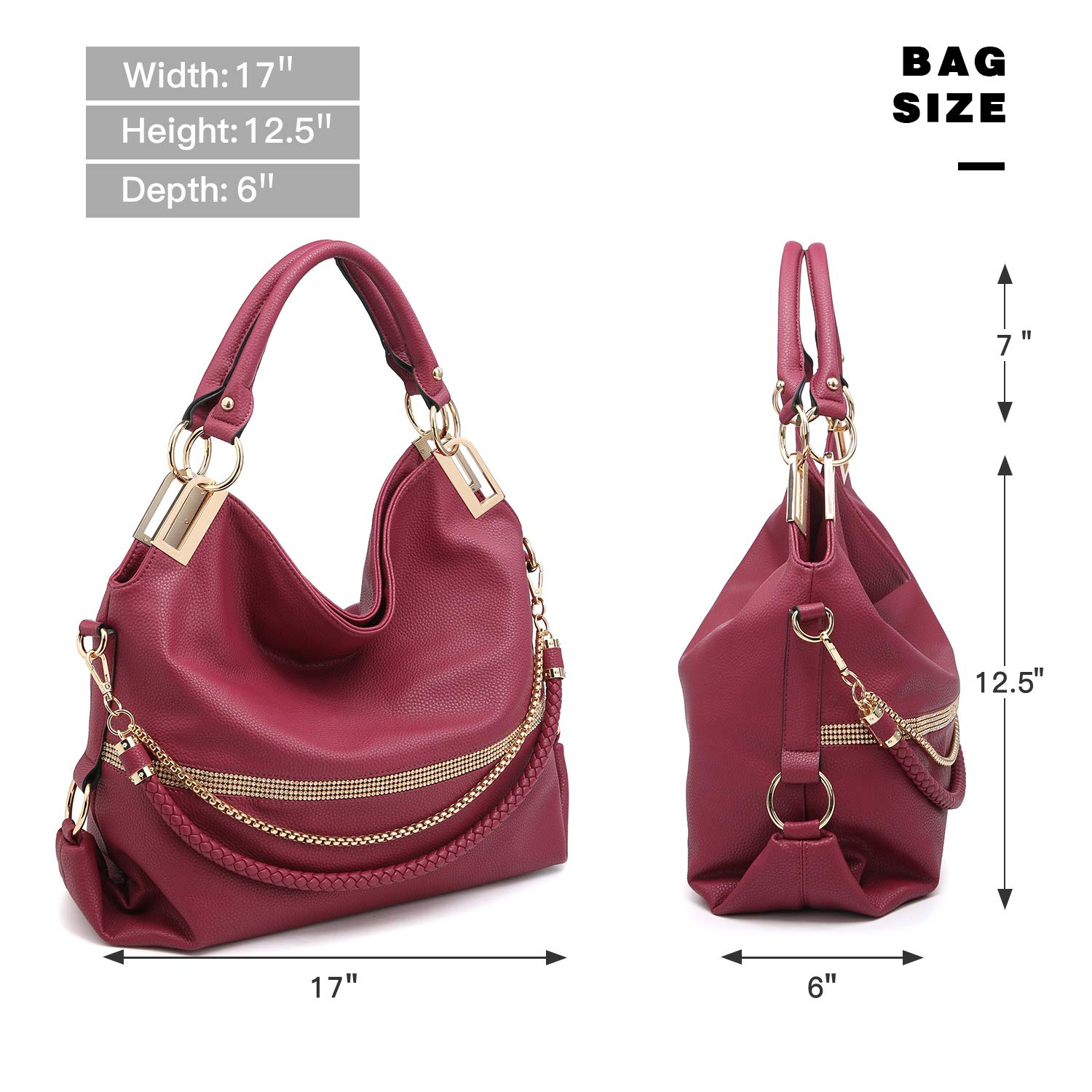 c772ba757546 Dasein Women s Classic Large Hobo Bag Rhinestone Chain Shoulder Bag Top  Handle Purse KC-XL-21-7350-BG  1541013300-320164  -  25.73