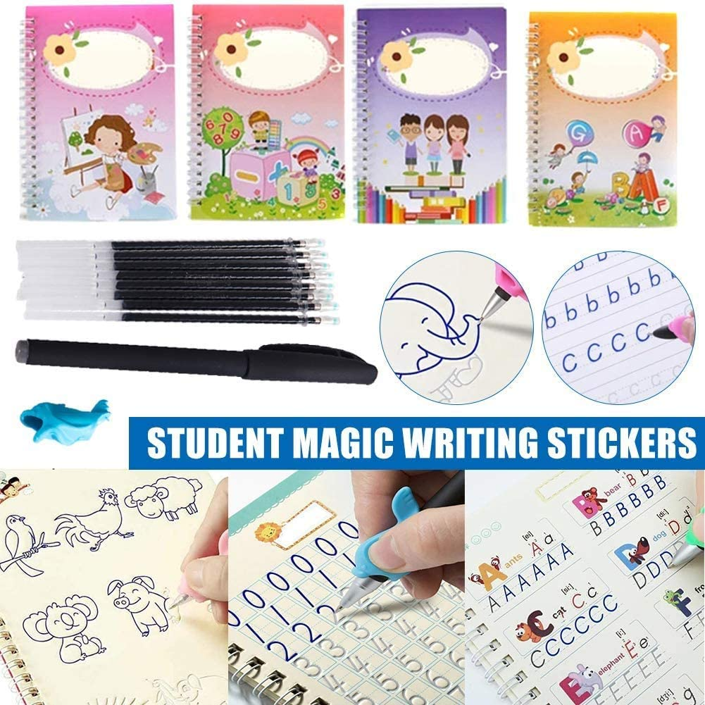 Magic Calligraphy That Can Be Reused Handwriting Copybook Set LOPP Reusable Calligraphy Copybook Simple Hand Lettering Practice for Kid Calligraphic Letter Writing 4 Books