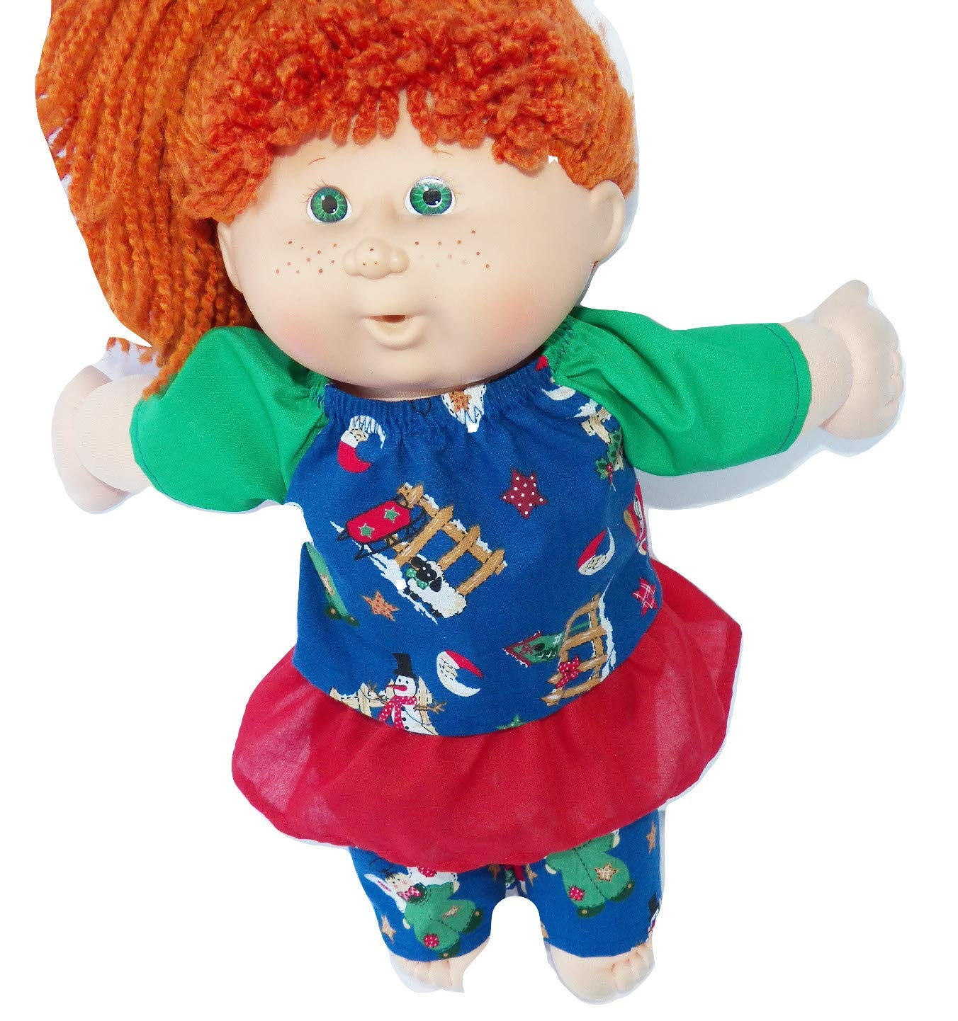 Cabbage Patch Doll Clothes 16 Inch Girl Size Includes 3 Piece Christmas Outfit Blue Angel and Snowman Print No Doll