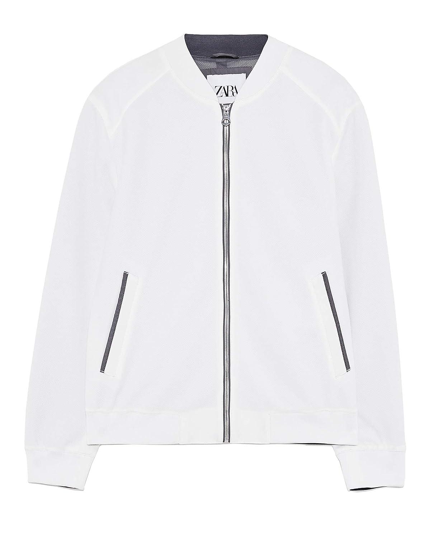Zara 0706/301 - Chaqueta Bomber de piqué para Hombre Blanco ...