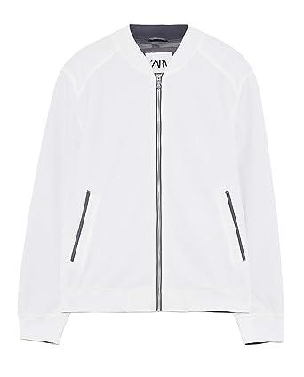 Zara 0706/301 - Chaqueta Bomber de piqué para Hombre Blanco XL ...
