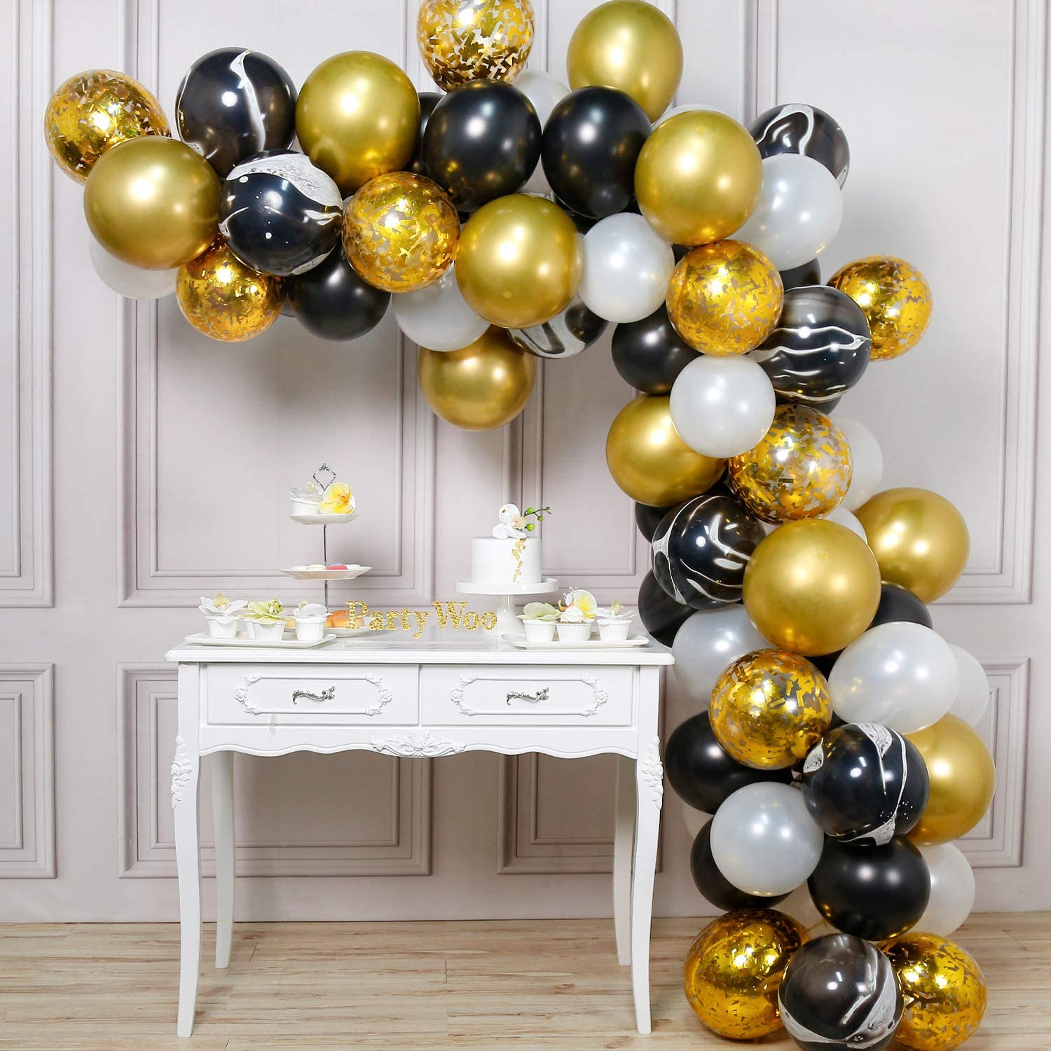 PartyWoo Gold and Black Balloons, 6 pcs Black Balloons, White Balloons,  Black Marble Balloons, Gold Metallic Balloons, Gold Confetti Balloons for