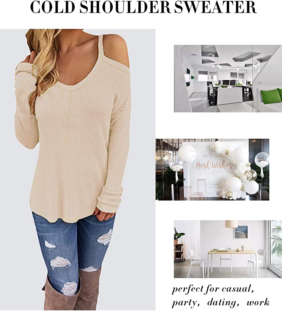 CNFIO Women Long//Short Sleeve Tops Cold Shoulder Jumper Pullover Blouse Knit Sweaters Casual Criss Cross T Shirt