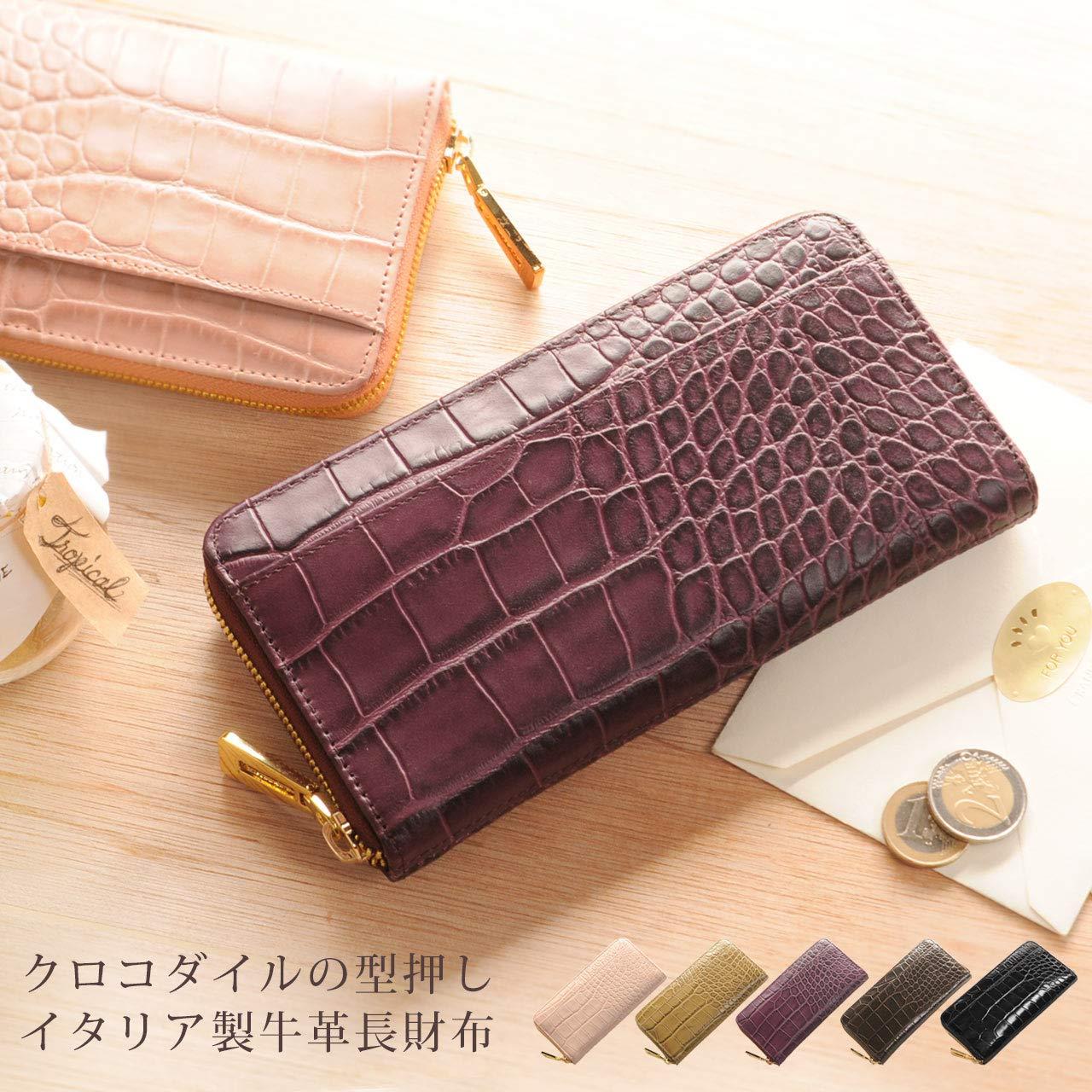 24d594c6c777 Amazon   クロコダイル 型押し イタリア製レザー 長財布 レディース ラウンドファスナー 真鍮金具使用 : ピンク   財布