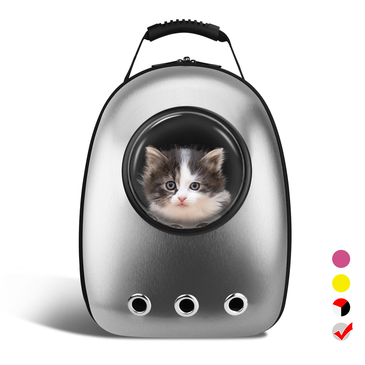 c462bab48364 Amazon.com   AntTech Breathable Pet Carrier Backpacks Travel Backpack Space  Capsule Carrier Bag Hiking Bubble Backpack for Cat   Dog Puppy-Silver   Pet  ...