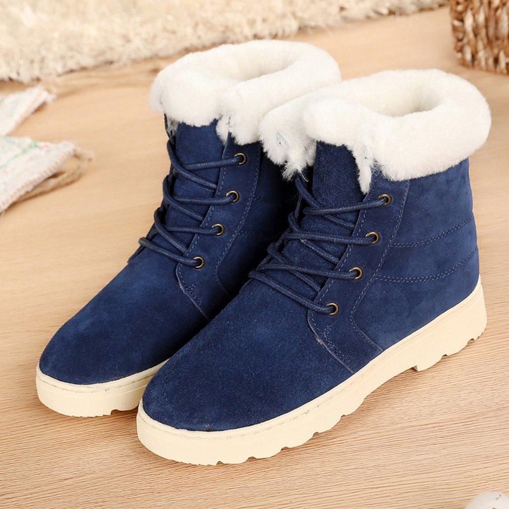 Schneestiefel Cotton Schuhes Female Winter Mittleren Alters Snow Stiefel Kurze Stiefel Flache Rutschfeste Warm Stiefel (Farbe : Blau, größe : 38)