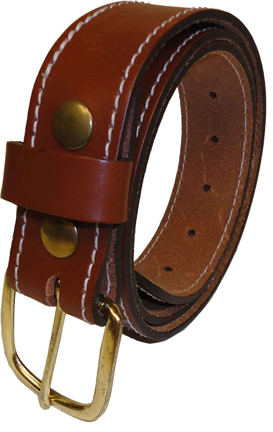 Made In The USA Men/'s Genuine Leather Belt Tan Heavy Duty Full Grain 1 /½ Wide With Snaps