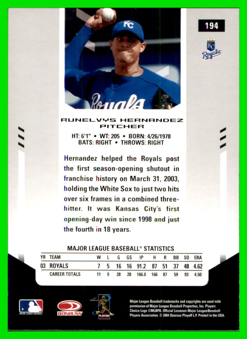 2004 Leaf Certified Materials  194 Runelvys Hernandez KANSAS CITY ROYALS at  Amazon s Sports Collectibles Store e0255f4e6