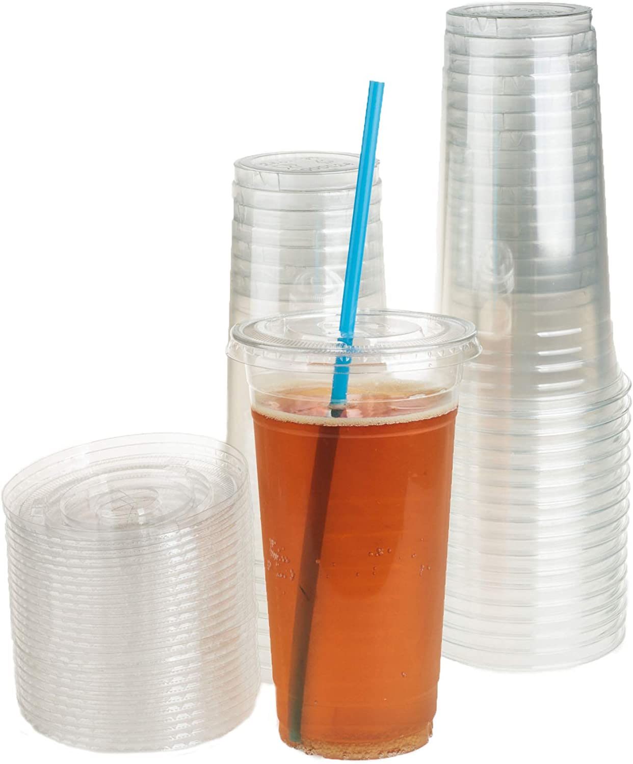 GOLDEN APPLE, 24oz-25sets. Clear Plastic Cups with Flat lids with Straw Slot