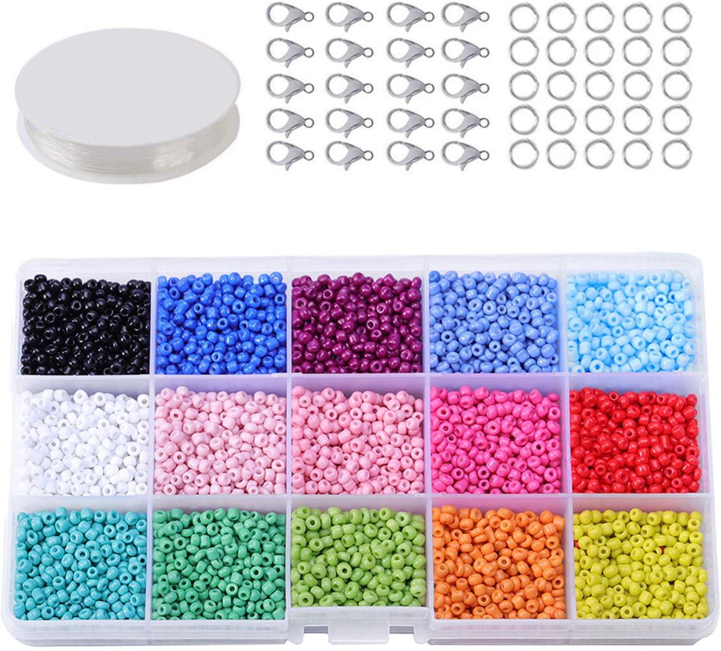 Abalorios para Hacer Pulseras, Mini Perlas de Vidrio Coloridas de 3mm con Cierre de Langosta, para Bricolaje JoyeríA Artesanal Collares Pulseras Arete BisuteríA Hacer Regalo 7000-7500 Piezas