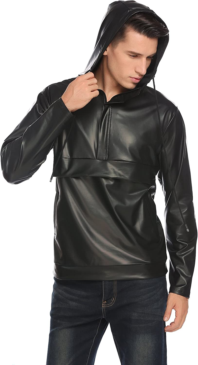 Mens Metallic Shiny Synthetic Leather Hooded Top Nightclub Pullover Hoodie Shirt