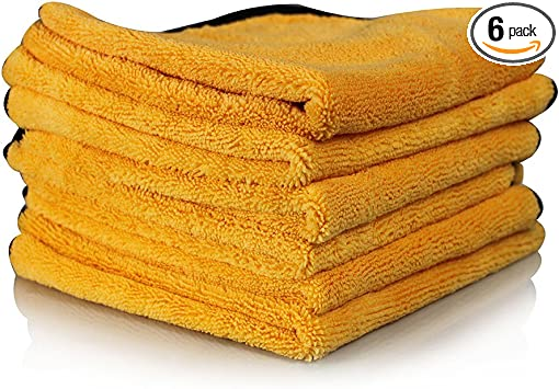 Premium Microfiber Towel, Gold (16 in. x 24 in.) Pack of 6