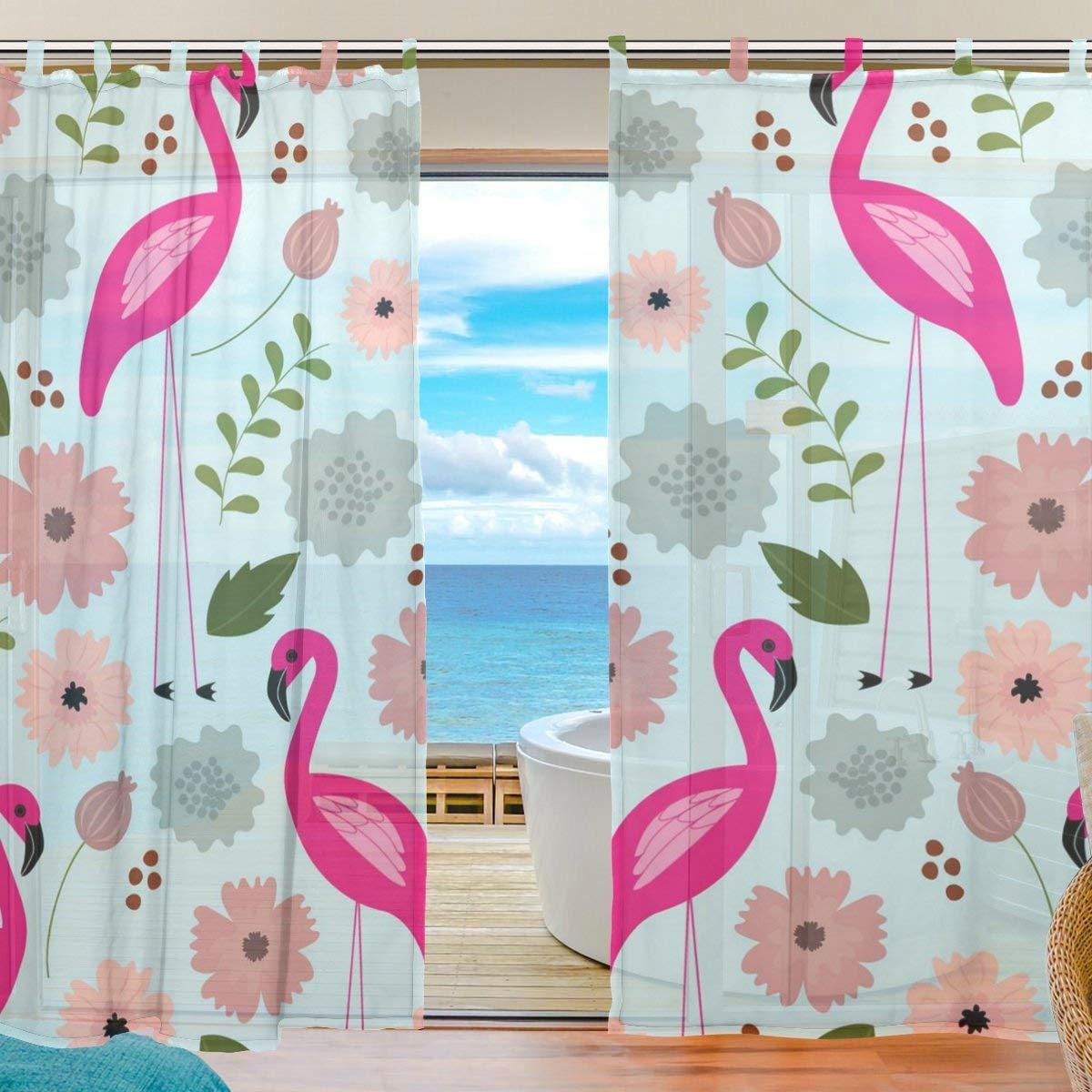 ZOMOY(ユサキ おしゃれ 薄手 柔らかい シェードカーテン紗 ドアカーテン,かわいい フラミンゴ 柄,装飾 窓 部屋 玄関 ベッドルーム 客間用 遮光 カーテン (幅:140cm x丈:210cmx2枚組)   B07PKMCPY5