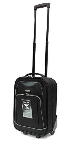 """Ryanair and EasyJet Lightweight Cabin Approved Hard Wearing and Light Weight Trolley Wheeled Luggage Bag (17 inch fits within 50 x 40 x 20 & 21 inch 55 x 40 x 20) (17"""", Black MM23)"""