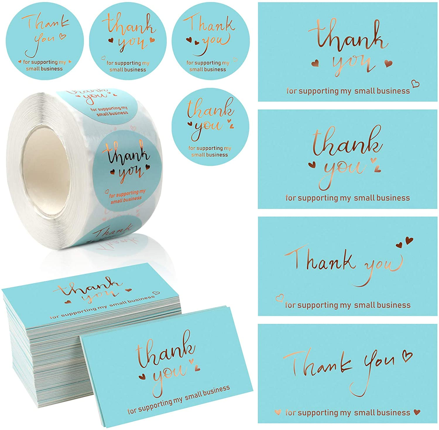 120 Pieces Thank You Card with 500 Sticker Label Roll, Gold Foil Greeting Cards, Thank You for Supporting My Small Business Card Set for Package Insert, Envelope Seals, Small Business Owner Need : Office Products