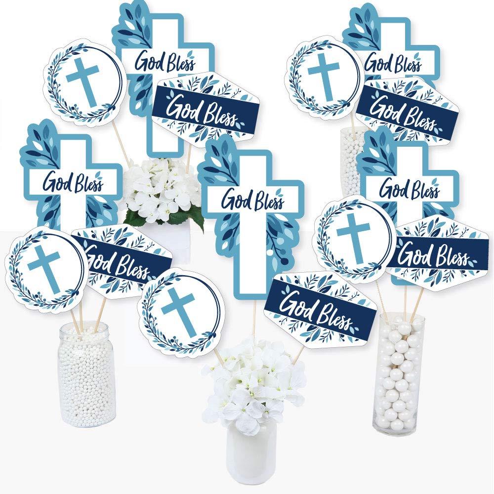 Boy Religious Party Centerpiece Sticks Blue Elegant Cross Set of 15 Table Toppers