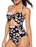 AnniBlue Women 1950s Cut Out Scalloped One Piece Padding Monokini Swimsuits (US 4-18)