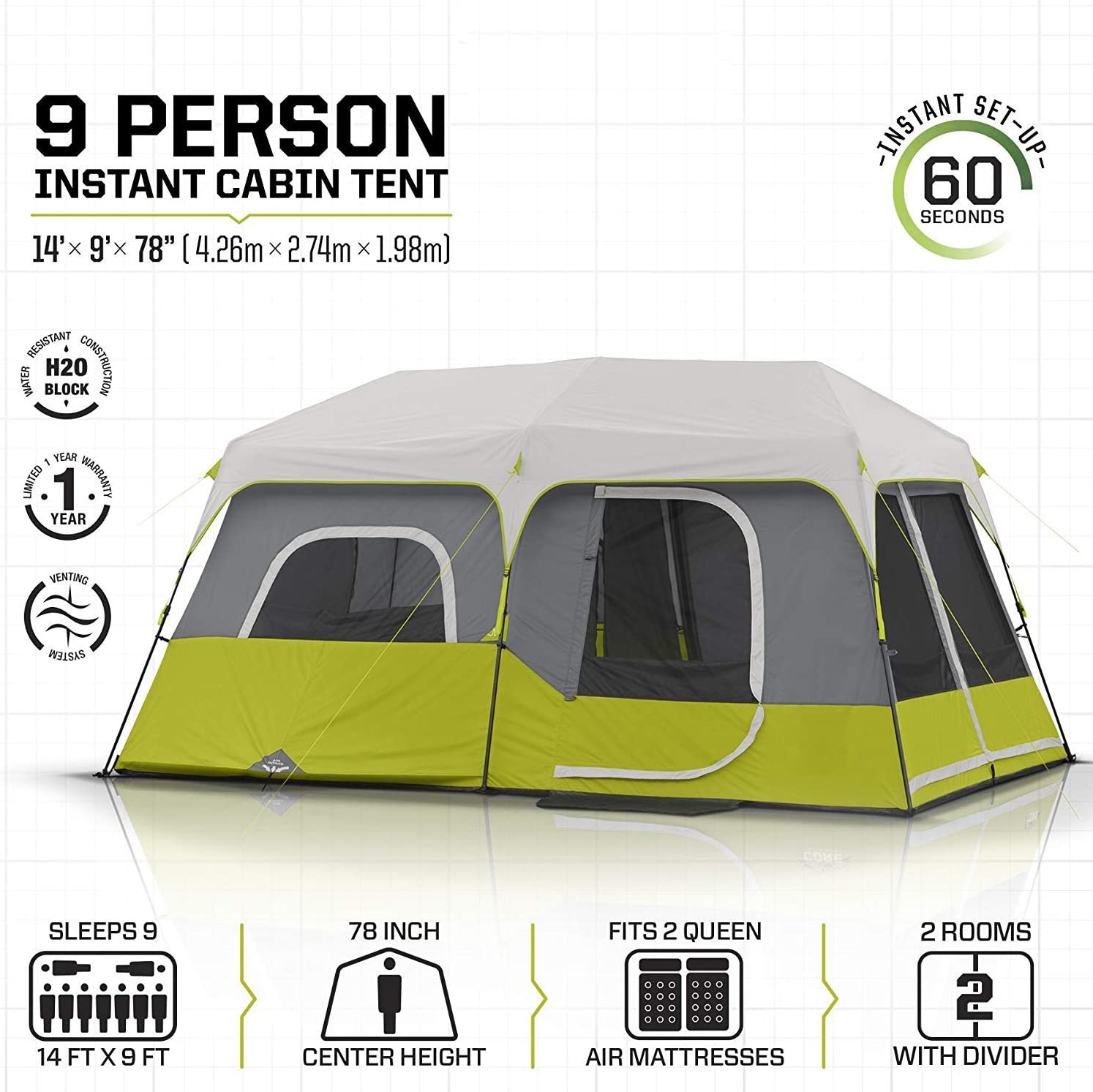 LS2 9 12 Persons Instant Cabin Tent