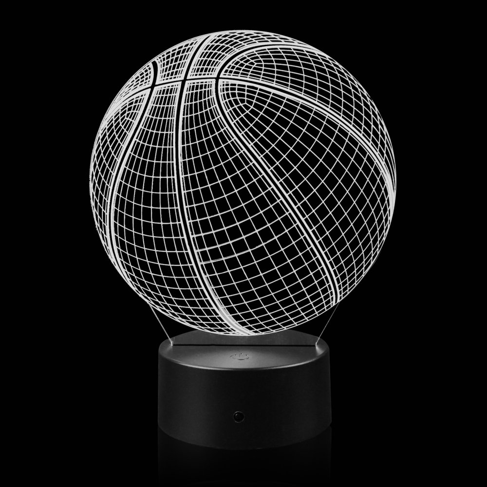 3D Illusion Basketball Night Light Lamp with 7 Color Change, Touch Base, Power by AA Batteries by AZALCO (Image #2)