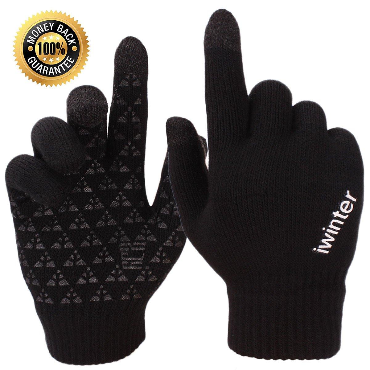 aa834b3509e4b Achiou Winter Knit Gloves Touchscreen Warm Thermal Soft Lining Elastic Cuff  Texting Anti-Slip 3 Size Choice for Women Men