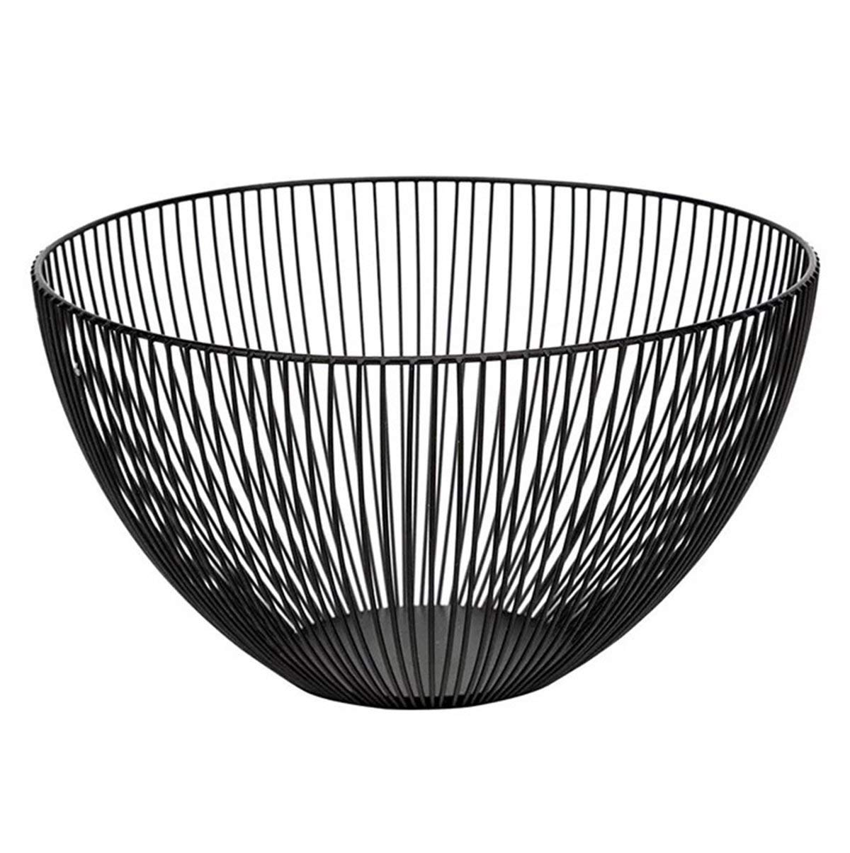 MSF dish rack Metal Wire Fruit Bowl Basket, Round Black Fruit Vegetable, Egg, Bread Storage Bowl Holder Stand for Kitchen Counter, Cabinet and Pantry, Dia 25 cm