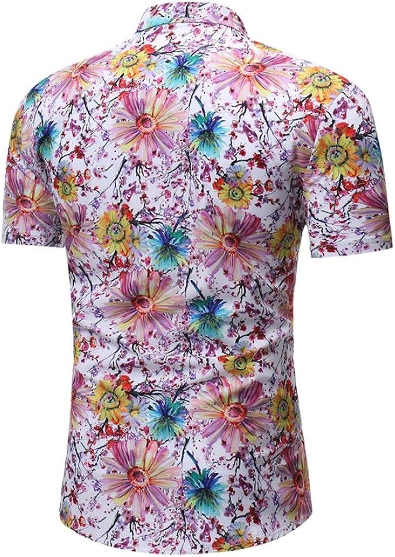 GREFER Mens Long Sleeve Shirt Business Casual Slim Fit Shirt Print Blouse Top