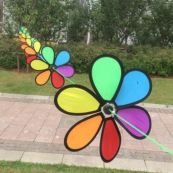 8 Stück Regenbogen String Windmühle Windrad Windräder aus Plastik /& Tuch