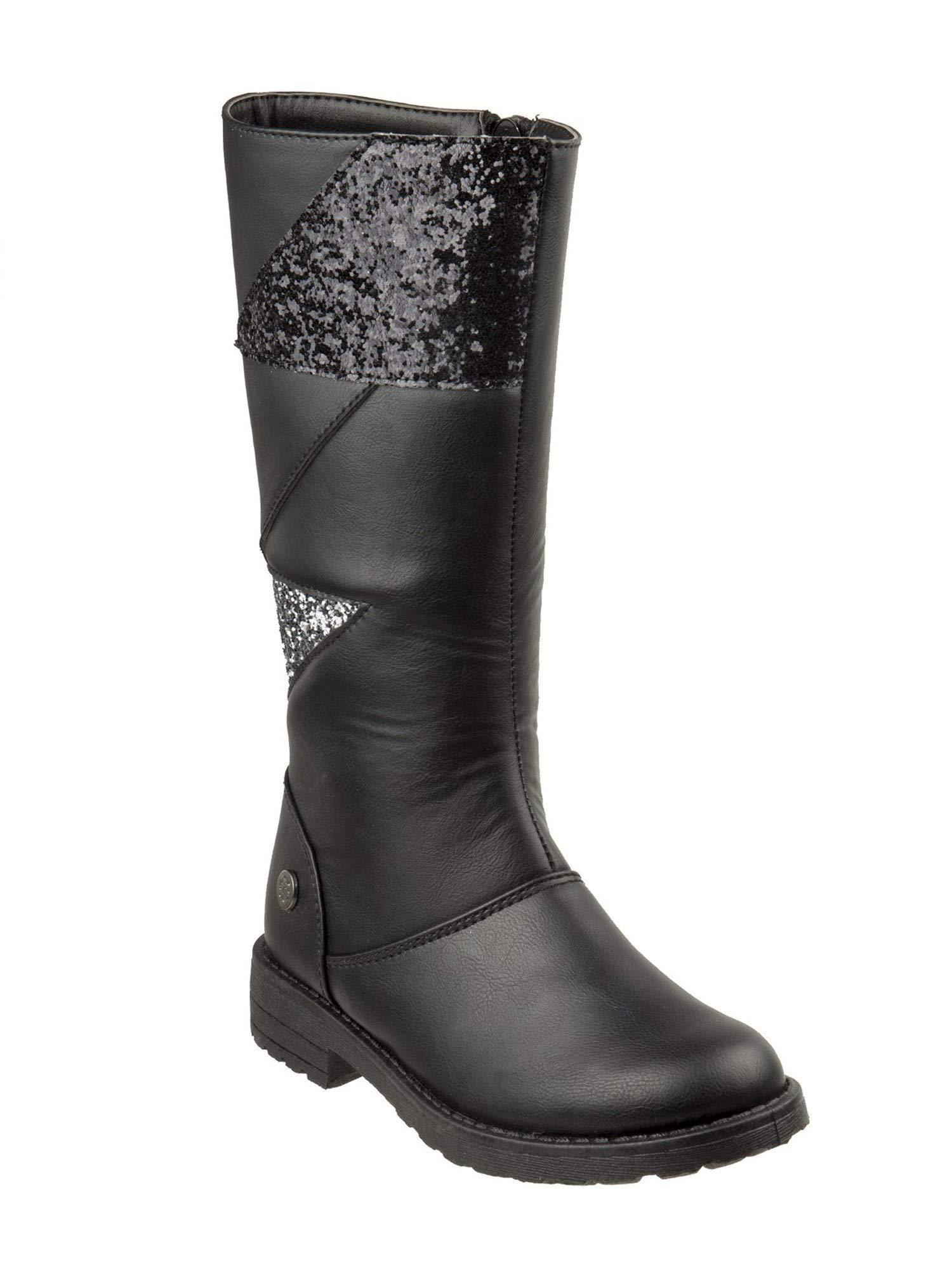 Nanette Lepore Girls Black Silver Glitter Panels Tall Trendy Boots 12 Kids