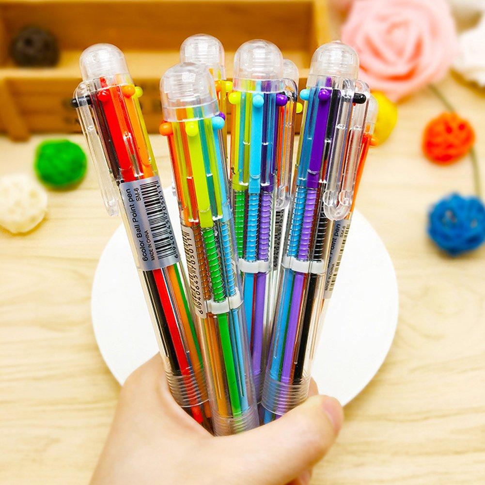 4Pcs Neuheit 6 Farbe in 1 Kugelschreiber Schulbedarf Studenten Geschenk
